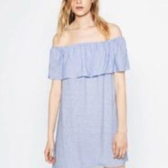 f475422f8783 Zara women s off shoulder blue pinstripe dress sm.  M 5b05f525a44dbe2ffee2d4e0